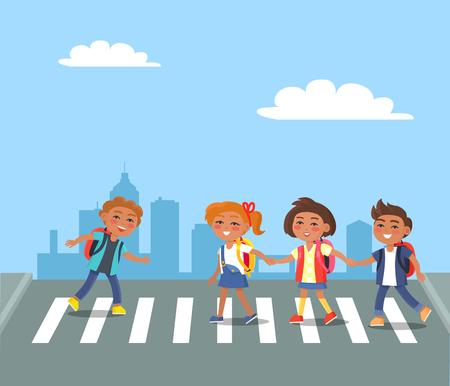 Kids Crossing Road in City Cartoon Illustration