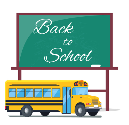 Back to school written on green blackboard, Bus Zdjęcie Seryjne - 90626754