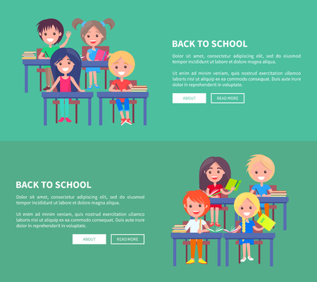 Back to School Template Poster with Small Pupils Vettoriali