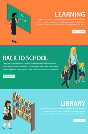 Learning Back to School Library Colourful Poster