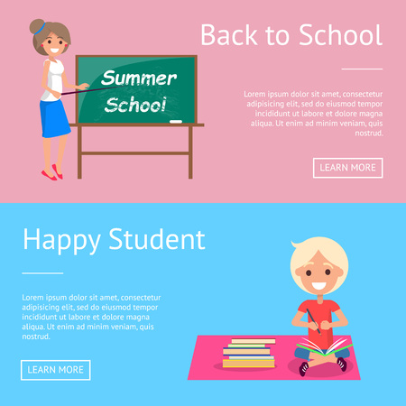 Back to School Web Banners with Teacher and Pupil