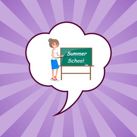 Summer School Banner with Teacher Standing Vector