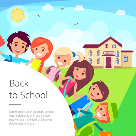Back to School Cartoon Illustration with Kids