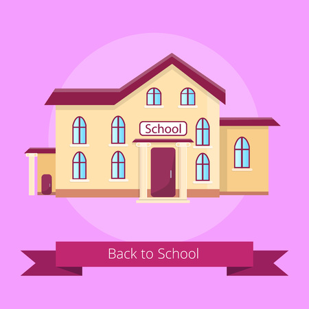 Back to School Isolated Illustration on Purple Banco de Imagens - 90626765
