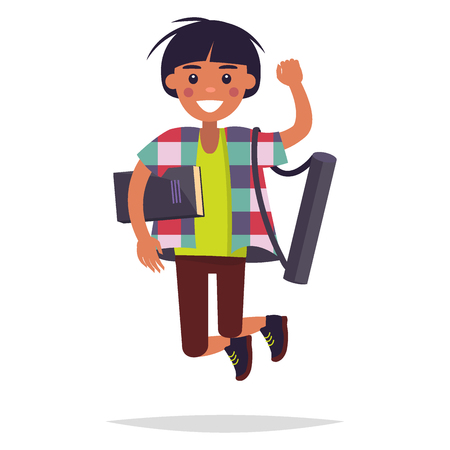Jumping Student with Book and Tube Illustration