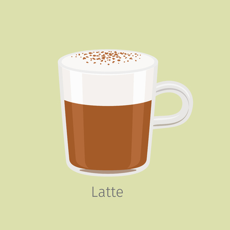 Glass Mug with Aromatic Latte Flat Vector Illustration