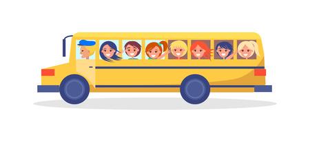 Żółty autobus wycieczkowy z dziećmi jadącymi na wycieczkę