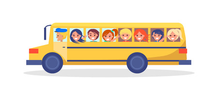 Yellow Trip Bus with Kids Going on Excursion 일러스트