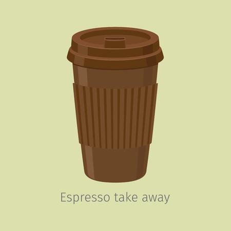 Haal espresso weg in papieren beker met deksel, platte vector