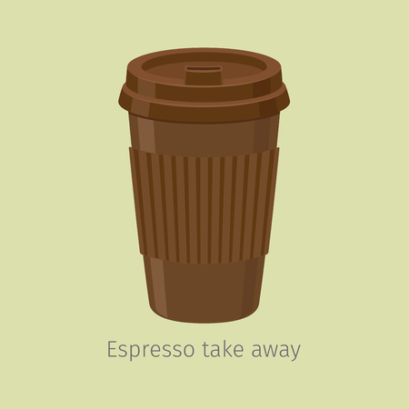 Take Away Espresso in Paper Cup with Lid, Flat Vector Çizim