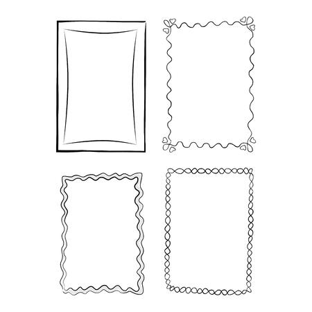Black and White Outlined Frames, Illustrations Set