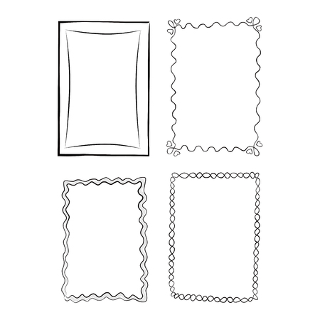 Black and White Outlined Frames, Illustrations Set