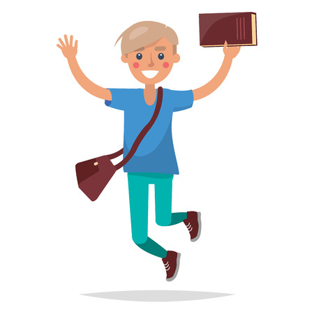 Jumping Blond Boy Student with Book Illustration Ilustrace