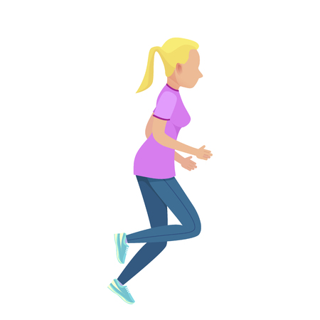 Young Blonde Girl Running Illustration