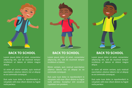 Back to School Collection of Posters with Kids Stock Photo