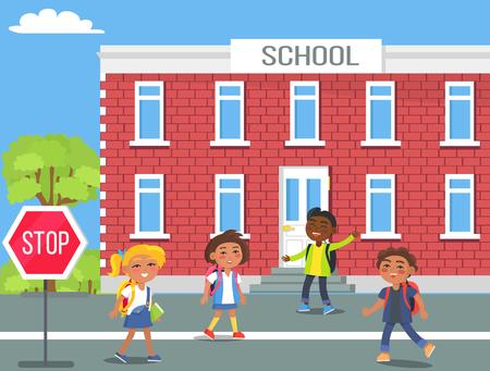 Children in Front of School Cartoon Illustration Stock Photo