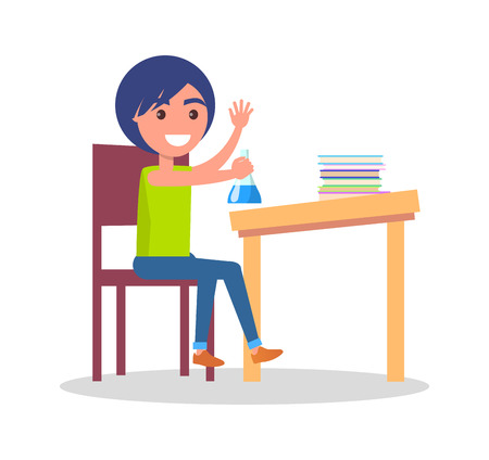 Minimalistic vector poster of schoolkid sitting at school table with different colorful books and copybooks, holding flask with light-blue liquid. Illustration