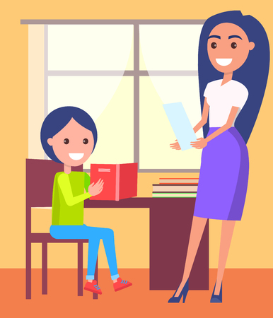 Private Lessons at Home with Schoolboy and Teacher Ilustrace