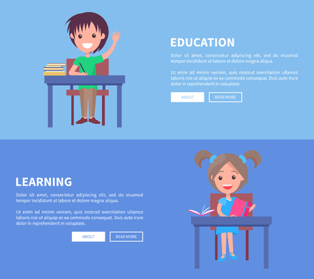 Education and Learning Set of Horizontal Posters