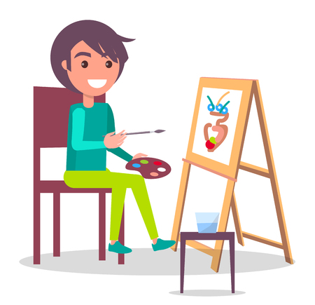 Creativity Poster with Girl Drawing Vase Vector Иллюстрация