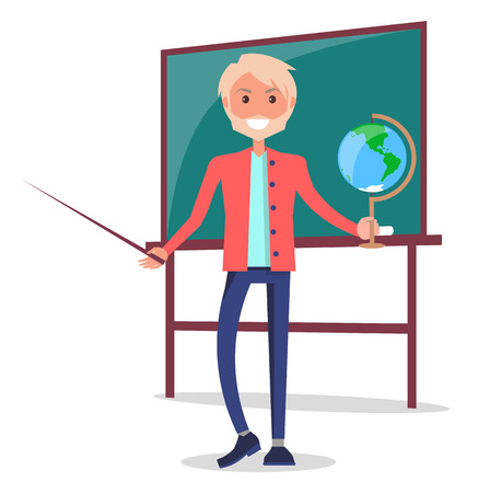 Smiling Teacher of Natural Sciences Stands Vector