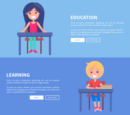 Education Learning Set of Posters with Boy and Girl