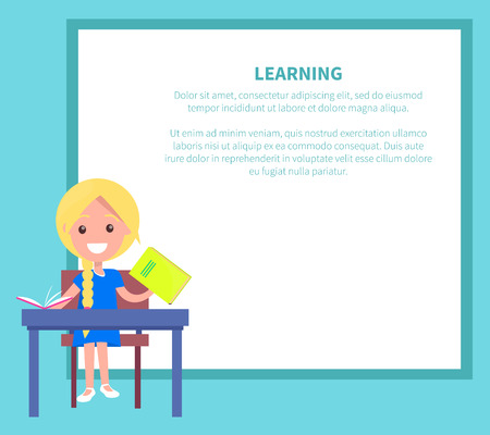 Learning Banner with Blonde Girl with Textbook Ilustrace
