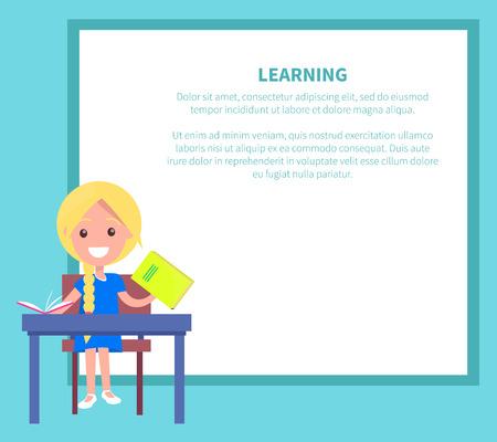 Leren banner met blond meisje met leerboek