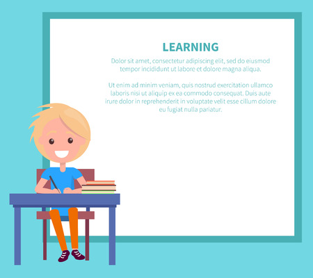 Learning Banner with Blonde Boy with Textbook