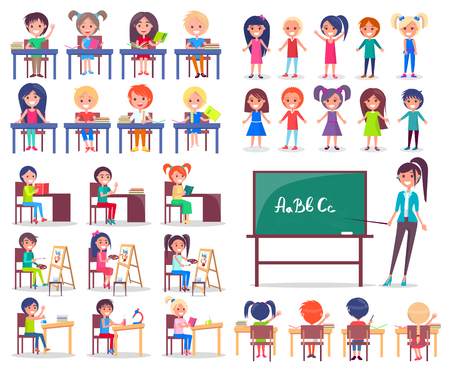 Isolated Students Sitting at Desks and Teacher Illustration