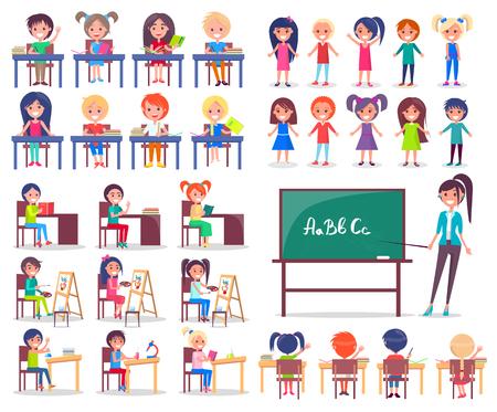 Studenti isolati seduti a scrivanie e insegnante Archivio Fotografico - 89984294