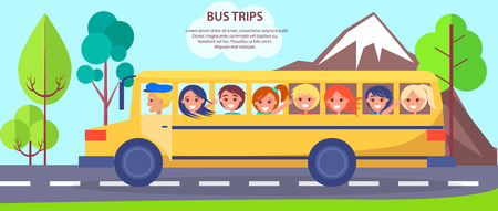 Yellow School Bus wiith Small Students Poster