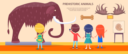 Prehistoric Animals Exhibition with Huge Mammoth Ilustração