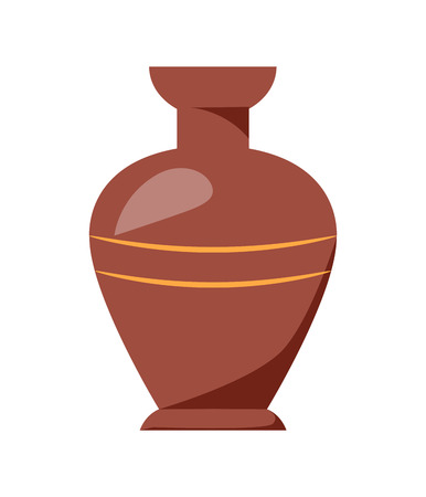Closeup of Clay Vase Isolated on White Background