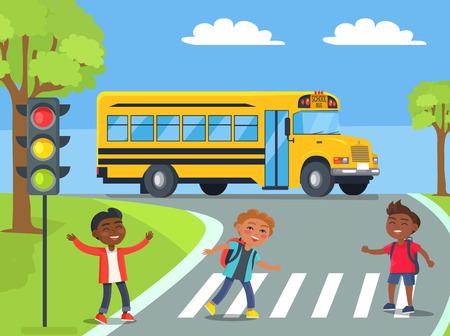 Boys Standing on Pedestrian Crossing Illustration Vectores