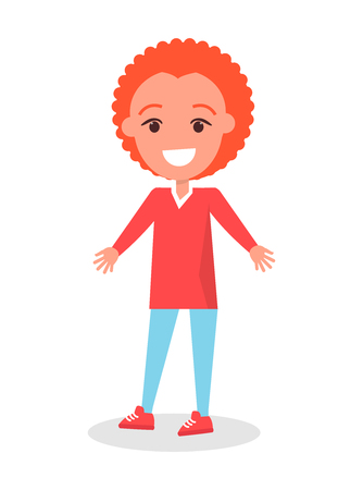 A Smiling Redhead Boy in Sweater and Trousers Vector illustration