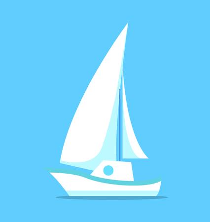 Zeilschip wit pictogram geïsoleerd op blauwe Vector Stock Illustratie