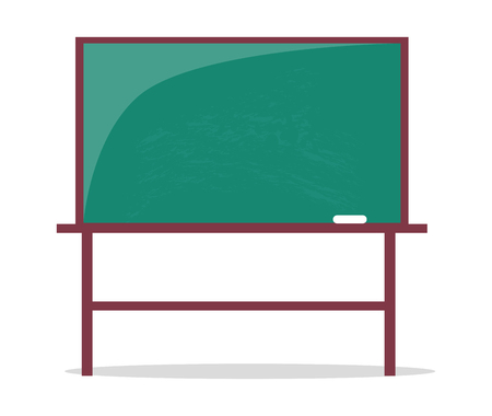 Empty Blackboard with Piece of Chalk Vector Illustration