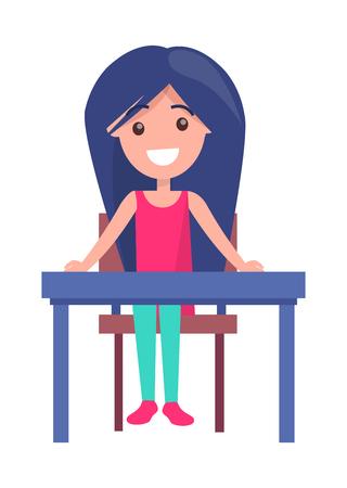 Back to School Vector Illustration with Schoolgirl