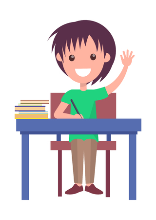 Back to School Vector Illustration with Schoolboy