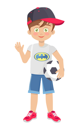 Vector Template of Little Boy with Football Ball