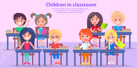 Children in Classroom Studying Vector Illustration