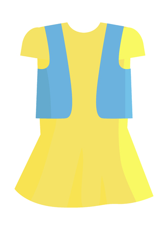 Yellow Summer Girly Dress with Blue Jeans Jacket