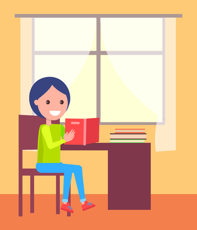 Schoolboy Sits with Open Book near Window Vector