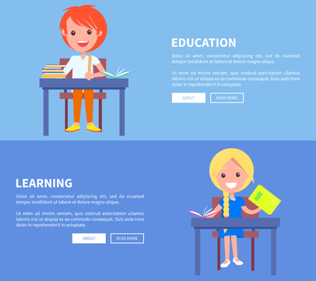 Education Learning Set of Poster with Boy and Girl