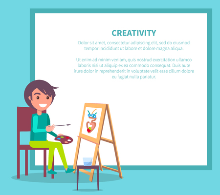 Creativity Poster with Girl Drawing Vase Vector 向量圖像