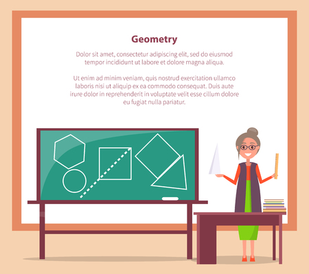 Geometry Lesson Web Banner with Place for Text