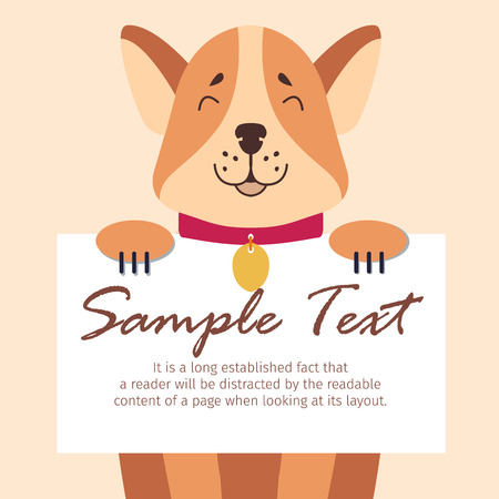 Funny Akita-inu Holds Sheet of Paper for Text Illustration