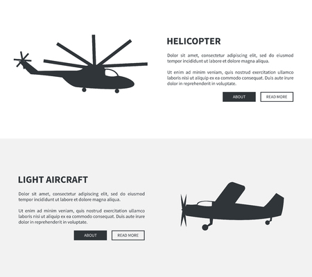 Helicopter and Light Aircraft Set of Black Banners