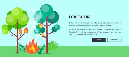 Forest Fire Web Poster con iscrizione. Vettore